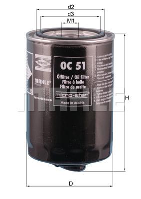 Filtre a huile MAHLE OC 51 OF (X1)