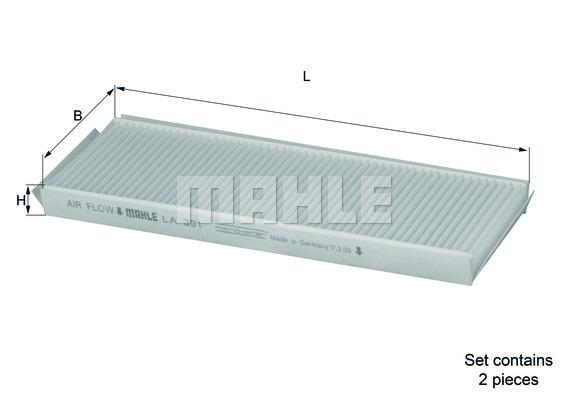 Filtre d'habitacle MAHLE LA 391/S (X1)