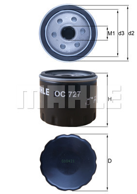 Filtre a huile MAHLE OC 727 (X1)