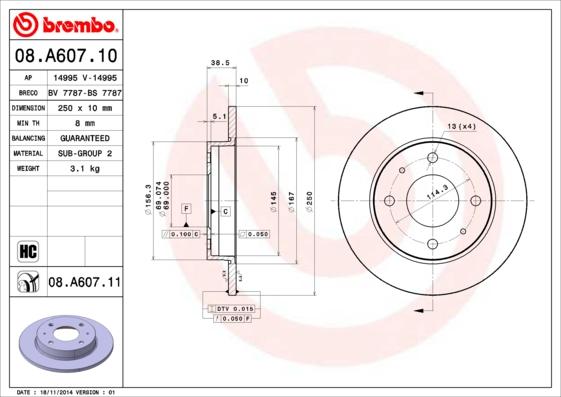 Disque de frein arriere BRECO BV 7787 (Jeu de 2)