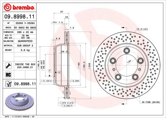 Disque de frein arriere BRECO BV 8903 (Jeu de 2)