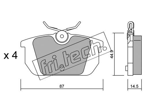 Plaquettes de frein arriere fri.tech. 066.0 (Jeu de 4)