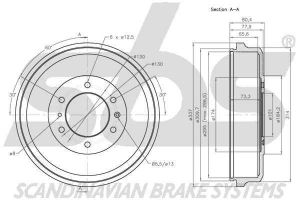Tambour de frein arriere sbs 1825251405 (X1)