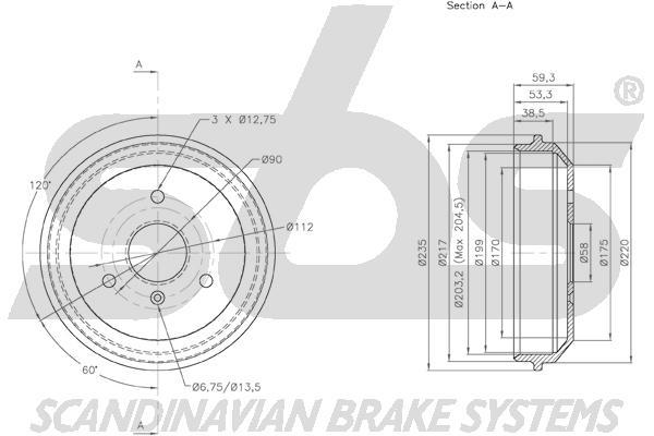 Tambour de frein arriere sbs 1825253302 (X1)