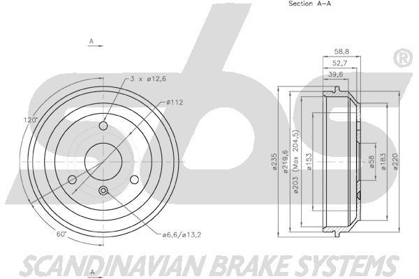 Tambour de frein arriere sbs 1825253303 (X1)