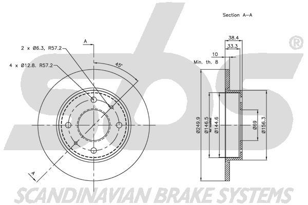 Disque de frein arriere sbs 1815313036 (X1)