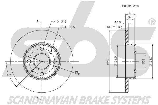 Disque de frein sbs 1815319922 (X1)