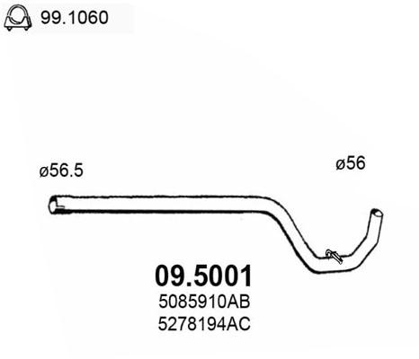 Tube d'echappement ASSO 09.5001 (X1)