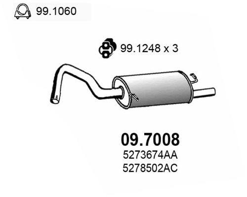 Silencieux arriere ASSO 09.7008 (X1)