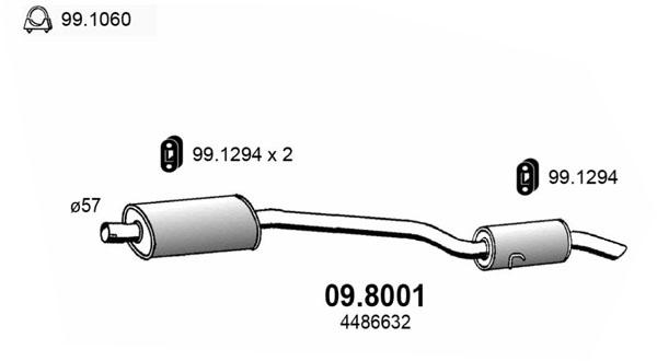 Silencieux arriere ASSO 09.8001 (X1)