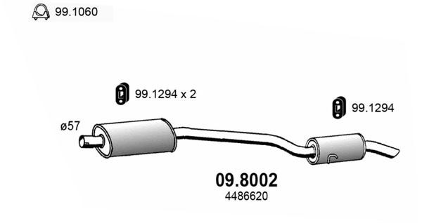 Silencieux arriere ASSO 09.8002 (X1)
