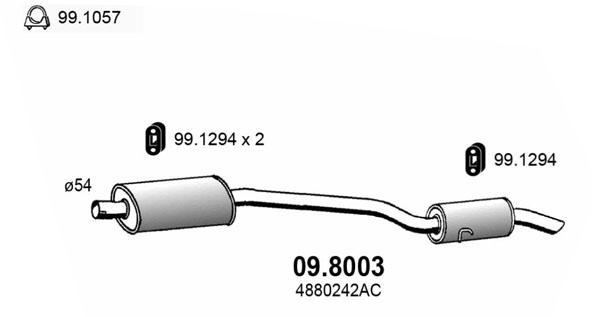 Silencieux arriere ASSO 09.8003 (X1)