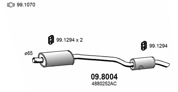 Silencieux arriere ASSO 09.8004 (X1)