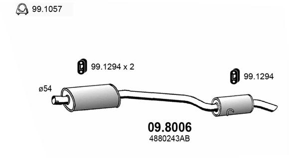 Silencieux arriere ASSO 09.8006 (X1)