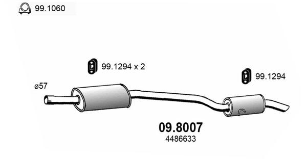Silencieux arriere ASSO 09.8007 (X1)