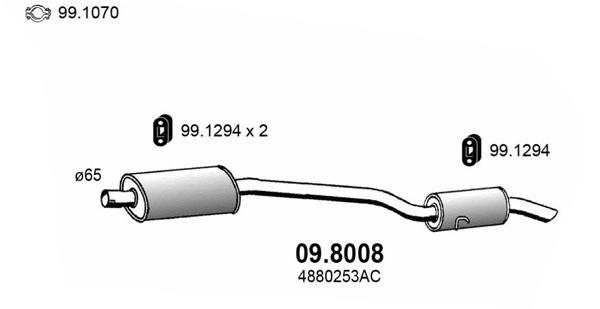 Silencieux arriere ASSO 09.8008 (X1)
