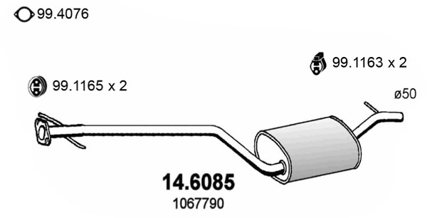 Silencieux central ASSO 14.6085 (X1)