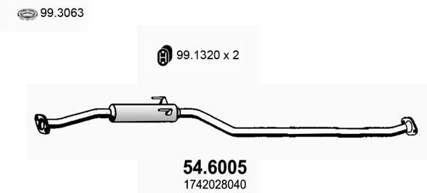 Silencieux central ASSO 54.6005 (X1)