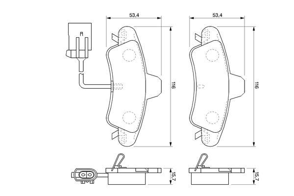 Kit de plaquettes de frein, frein à disque BOSCH 0 986 424 745 (Jeu de 4)