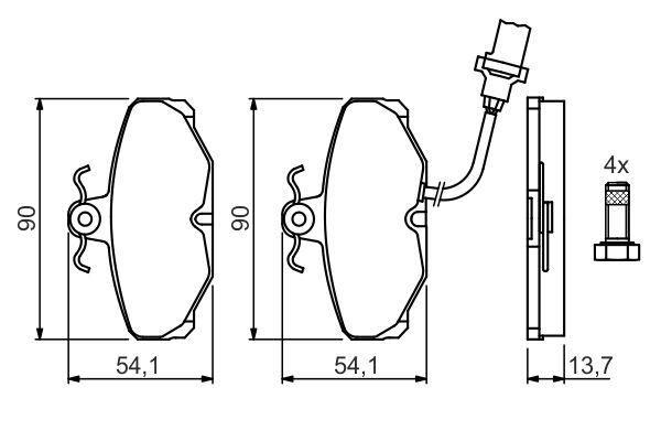 Kit de plaquettes de frein, frein à disque BOSCH 0 986 469 820 (Jeu de 4)