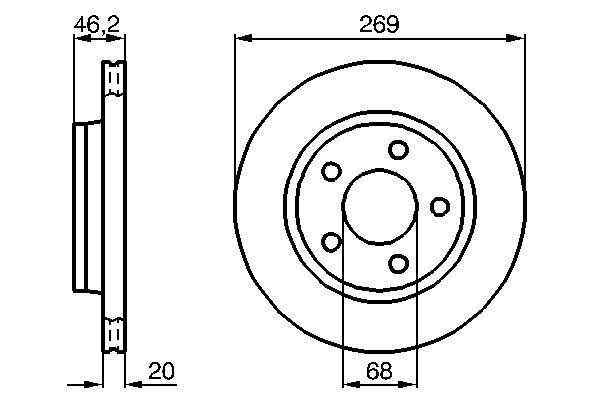 Disque de frein arriere BOSCH 0 986 478 316 (X1)
