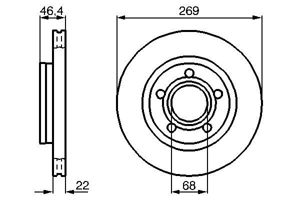 Disque de frein arriere BOSCH 0 986 478 574 (X1)