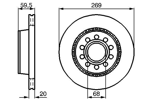 Disque de frein arriere BOSCH 0 986 478 614 (X1)