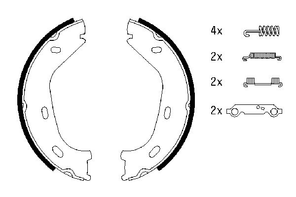 Jeu de mâchoires de frein de frein à main BOSCH 0 986 487 542 (X1)