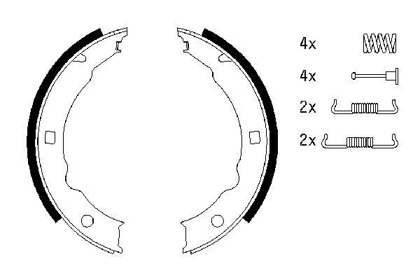 Jeu de mâchoires de frein de frein à main BOSCH 0 986 487 579 (X1)