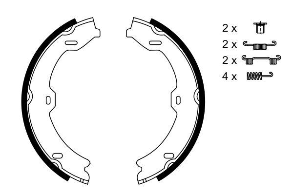 Jeu de mâchoires de frein de frein à main BOSCH 0 986 487 725 (X1)