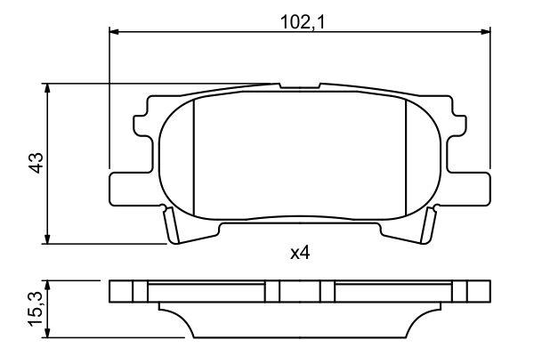 Kit de plaquettes de frein, frein à disque BOSCH 0 986 494 224 (Jeu de 4)