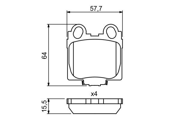 Kit de plaquettes de frein, frein à disque BOSCH 0 986 494 231 (Jeu de 4)