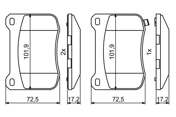 Kit de plaquettes de frein, frein à disque BOSCH 0 986 494 872 (Jeu de 4)