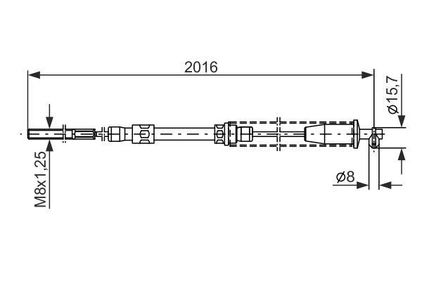 Cable de frein à main BOSCH 1 987 477 377 (X1)