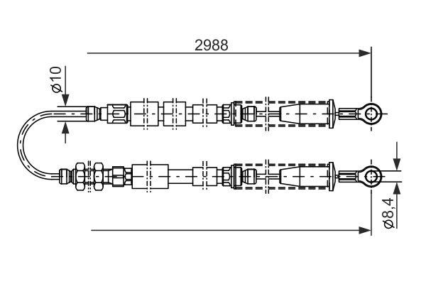 Cable de frein à main BOSCH 1 987 477 381 (X1)