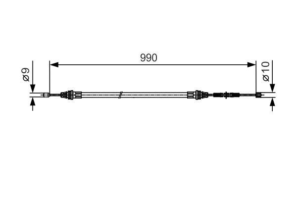 Cable de frein à main BOSCH 1 987 477 751 (X1)