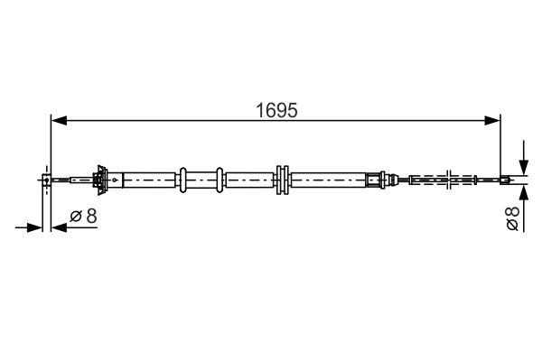 Cable de frein à main BOSCH 1 987 482 205 (X1)