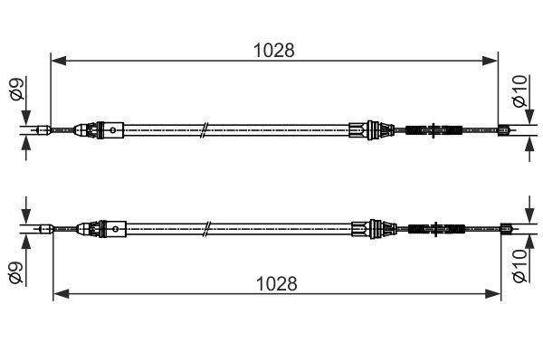 Cable de frein à main BOSCH 1 987 482 423 (X1)