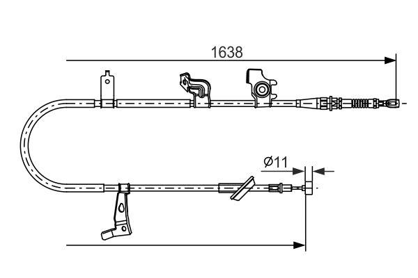 Cable de frein à main BOSCH 1 987 482 465 (X1)
