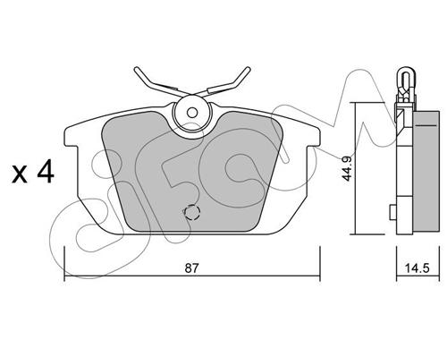 Plaquettes de frein arriere CIFAM 822-064-0 (Jeu de 4)