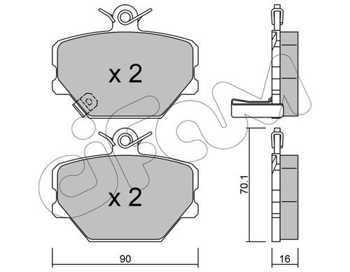 Plaquettes de frein avant CIFAM 822-341-0 (Jeu de 4)