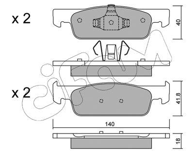 Plaquettes de frein avant CIFAM 822-975-0 (Jeu de 4)