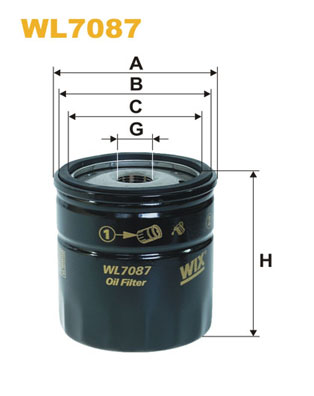 Filtre a  huile WIX FILTERS WL7087 (X1)