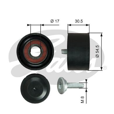 Galet enrouleur accessoires GATES T36375 (X1)