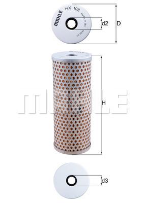 Filtre a huile de circuit hydraulique KNECHT HX 108 (X1)