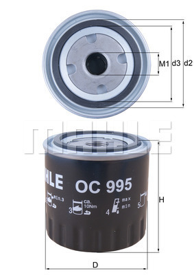 Filtre a huile KNECHT OC 995 (X1)