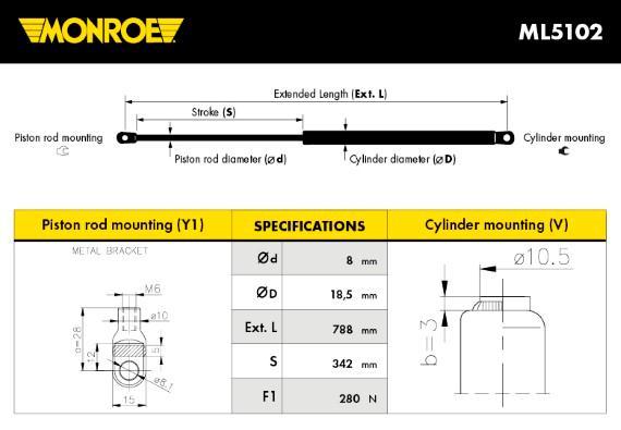 Verin de capot MONROE ML5102 (X1)