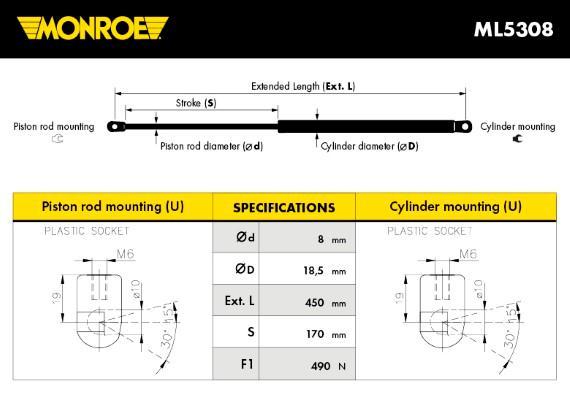 Verin de capot MONROE ML5308 (X1)