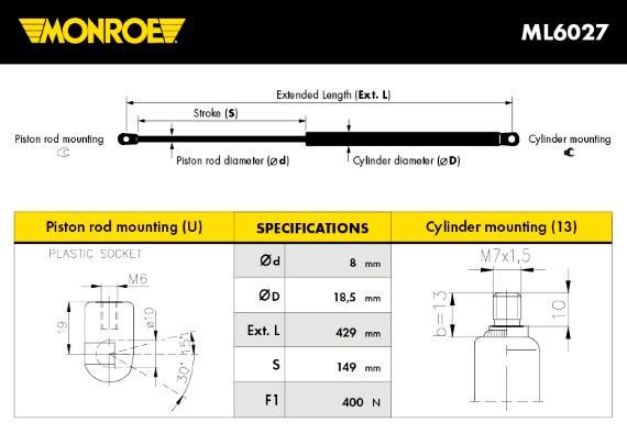Verin de capot MONROE ML6027 (X1)