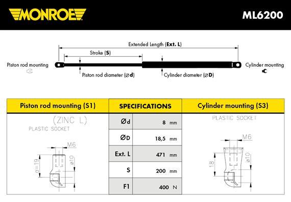 Verin de coffre MONROE ML6200 (X1)